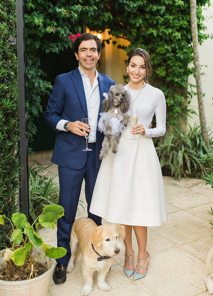 Wedding Ceremony with Fur Babies as Flower Girl and Ring Bearer