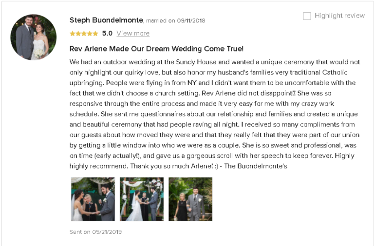 5 Star Review Testimonial that Rev Arlene Goldman Created the Perfect Personalized Wedding Ceremony