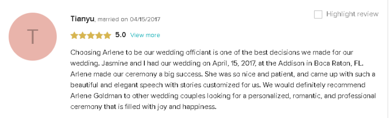 5 Star Review and Recommendation for a Personalized Wedding Ceremony with Reverend Arlene in South Florida
