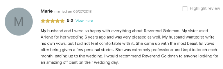 5 Star Review and Recommendation for Personalized Wedding Vows with Reverend Arlene in South Florida