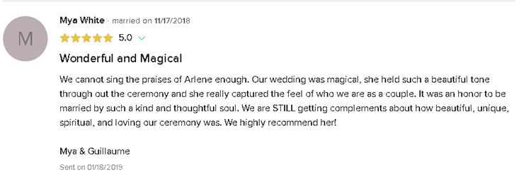 5 Star Review Testimonial of Magical Wedding Ceremony by Reverend Arlene Goldman