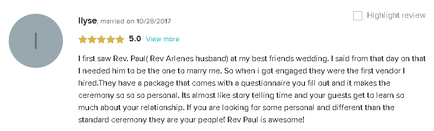 5 Star Review and Testimonial About The Perfect Personalized Wedding Ceremony in South Florida with Reverend Paul Goldman