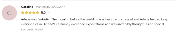 5 Star Review and Testimonial of Reverend Arlene Goldman and Wedding Ceremonies with Pets