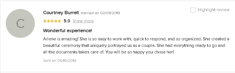 Testimonial and 5 Star Review of a Wonderful Experience
