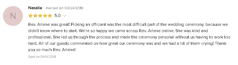 5 Star Review and Testimonial for LGBTQ Wedding Ceremony with Reverend Arlene Goldman