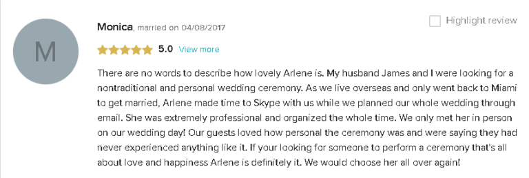 Testimonial and 5 Star Review of How Wonderful Rev Arlene Is