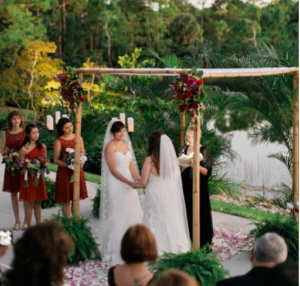 Lesbian Wedding with Personalized Ceremony at The Morikami in Boca Raton, Florida with Reverend Arlene Goldman