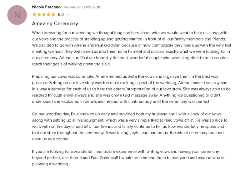 5 Star Review and Testimonial About Creating Personal Wedding Vows and Beautiful Ceremony with Reverend Paul Goldman in South Florida