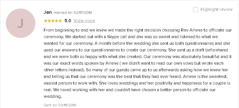 5 Star Review Testimonial for LGBTQ+ Wedding Personalized Ceremony with Reverend Arlene Goldman