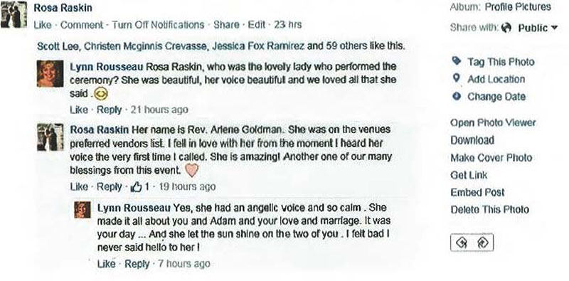 5 Star Review of Romantic Wedding Ceremony Performed by Reverend Arlene Goldman in South Florida