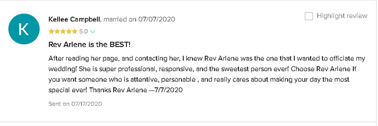 Testimonial about great ceremony with Wedding Officiant Public Arlene Goldman