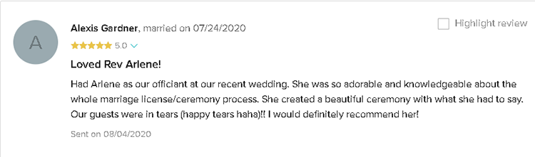 Testimonial about perfect ceremony with Wedding Officiant Arlene Goldman